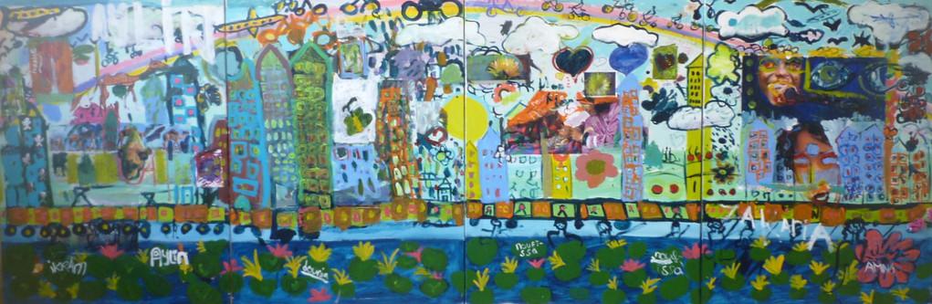 Muurschildering, Vreijheid, vriendschap, 120cm x 360 cm, Acrylverf op doek.