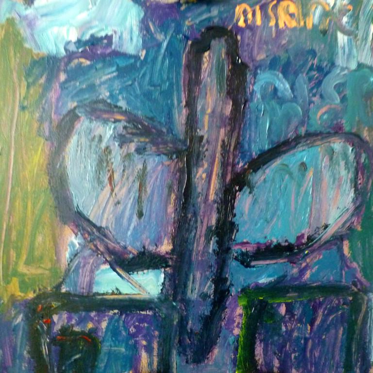 Nisrine Iken, Vlinder,  Acrylverf op paneel,  40cm x 40cm