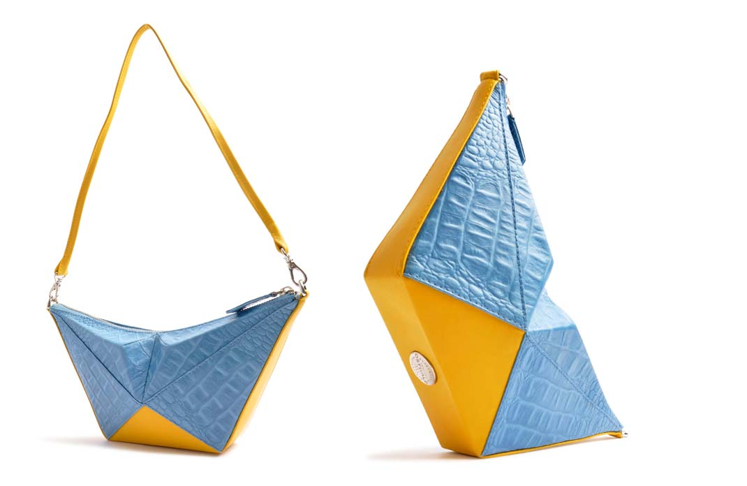 OSTWALD Art Couture Bags . ORIGAMI Bag  . Online Shop for Contemporary Handbags. Leatherbag . multicolor blue and yellow