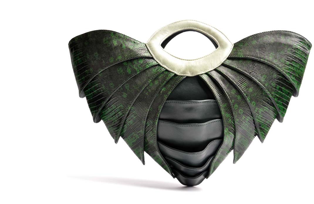 OSTWALD Bags .SAMURAI . OSTWALD Art Couture Bag.  Handbag . Handcrafted Leatherbag . green Artbag . Slow fashion. Contemporary Clutch . Purse