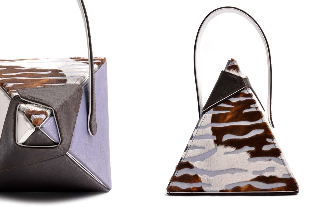 OSTWALD Bags . Pyramide  . OSTWALD Art Couture Bag.  Handbag . Handcrafted Leatherbag . mutlicolor Artbag . Slow fashion. Contemporary Clutch . Purse