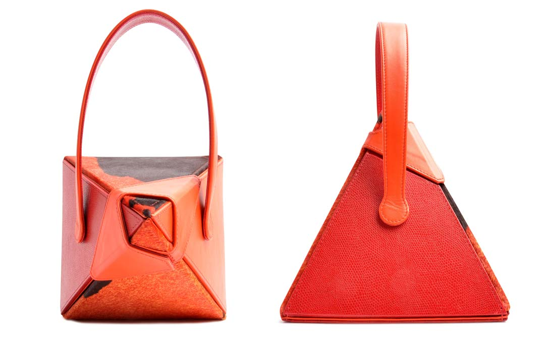 OSTWALD Bags . Art Couture .  Handbag . Handcrafted Leatherbag . multicolor . orange and brown . Slow fashion