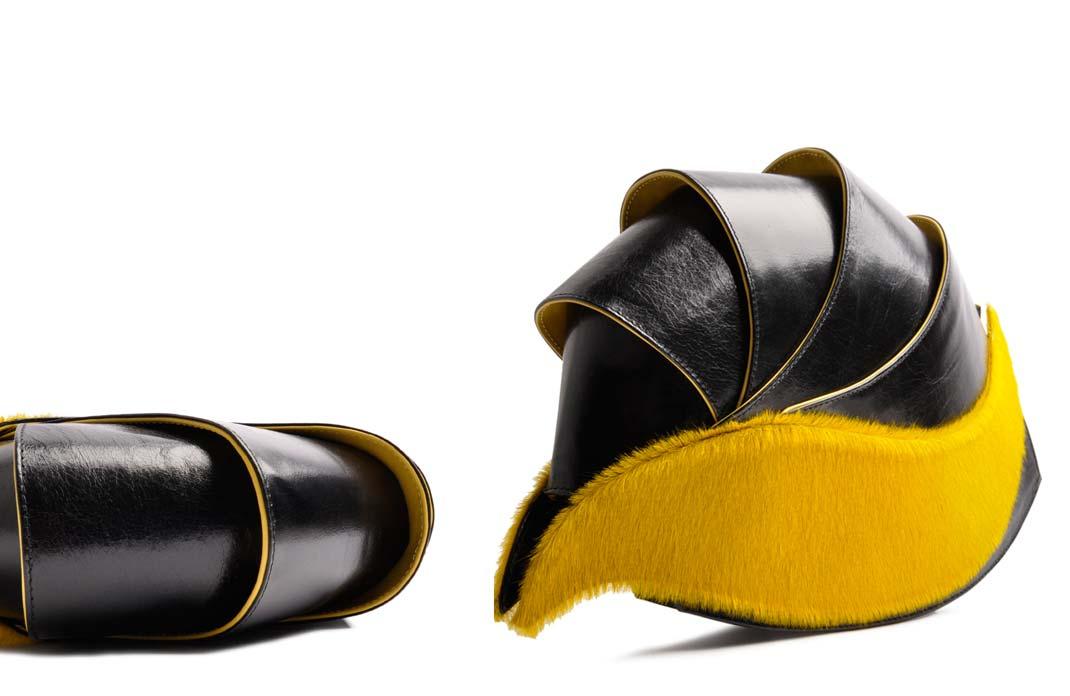 OSTWALD Bags . NAUTILUS . OSTWALD Art Couture Bag.  Handbag . Handcrafted Leatherbag . black yellow Artbag . Slow fashion. Contemporary Clutch . Purse