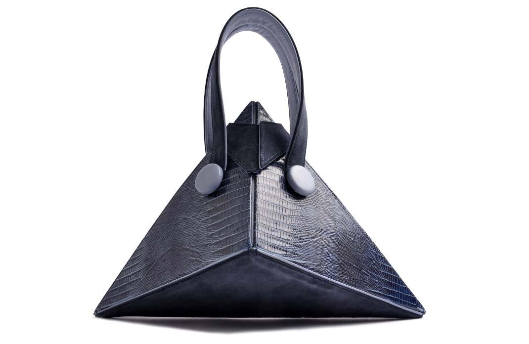OSTWALD Bags . Art Couture .  Leatherbag . multicolor . navy blue . mid blue . Contemproary Handbag