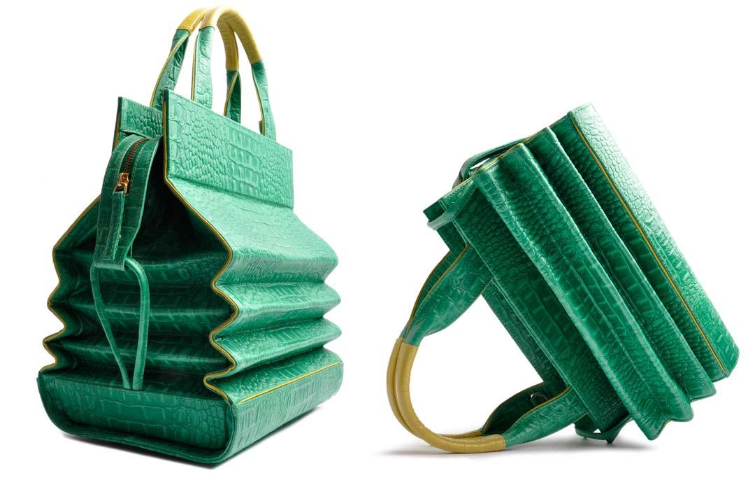 OSTWALD Bags . HARMONICA . OSTWALD Art Couture Bag.  Handbag . Handcrafted Leatherbag . green yellow Artbag . Slow fashion. Contemporary Clutch . Purse
