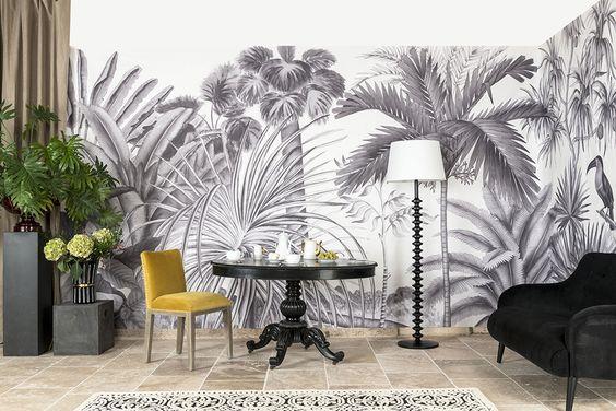 papier peint tropical et jungle noir et blanc dans la chambre