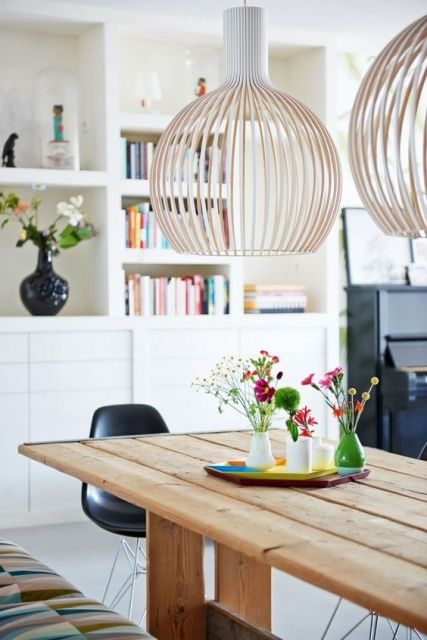 luminaire design octo par secto design dans un salon chaleureux al intérieurs