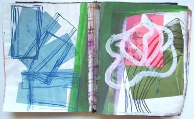 "Untitled (from 9A5), gouache on paper, 13 1/2"" x 21"", 1995"