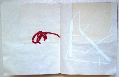 "Untitled (from 0A0), found string, adhesive paper and collage on paper, 13 1/2"" x 21"", 2000"