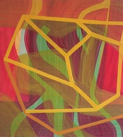 "Mountain with Molehill, 22""x20"", oil on wood panel, 2002"