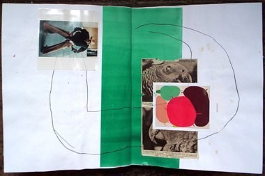 "Untitled (from 9A9), pencil, gouache and collage on paper, 13 1/2"" x 21"", 1999"