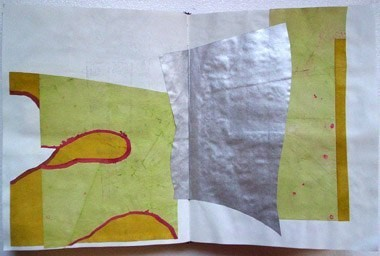 "Untitled (from 9A5), gouache, spray paint and dye on paper, 13 1/2"" x 21"", 1995"
