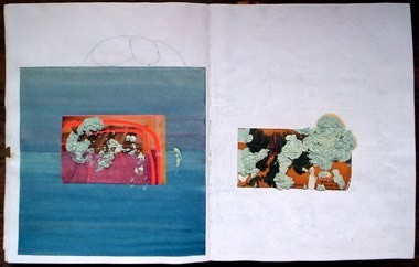 "Untitled (from 0A1), oil and collage on paper, 13 1/2"" x 21"", 2001"