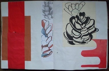 "Untitled (from 9A9), marker, gouache and collage on paper, 13 1/2"" x 21"", 1999"