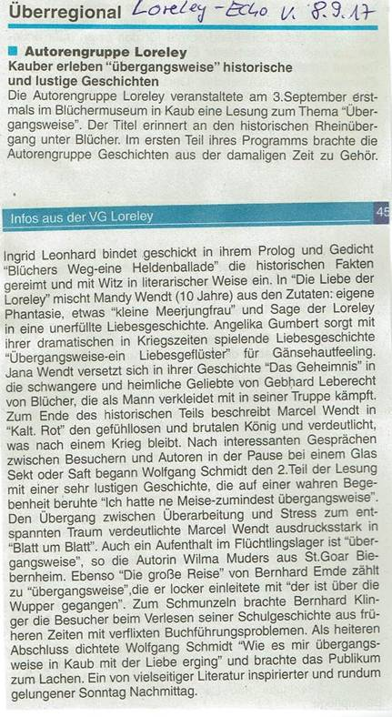 Artikel im Loreley-Echo vom 08.09.2017