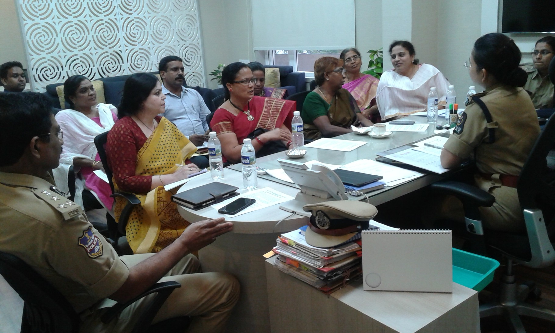 Ms.Jayamma and Mr.Jaya Singh.Thomas along with others with Ms. Swathi Lakra,IPS discussing about the Bharosa Initaitive to Protect Women of Hyderabad at her Office in Hyderabad.