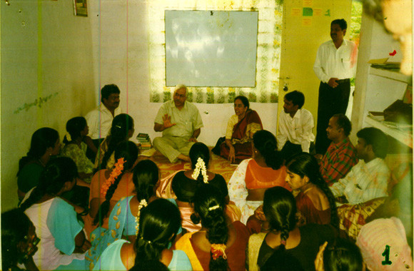 The then Director-General,National AIDS Control Org,Govt.of India,& Project Director,Andhra Pradesh State AIDS Control Society,Govt.of A.P,at the CMM Office with the Community Members