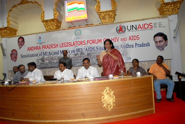 Ms.Jayamma,President and Advisory board member APLFA,sharing the dias with other VIPS at one the meetings held at the Assemply