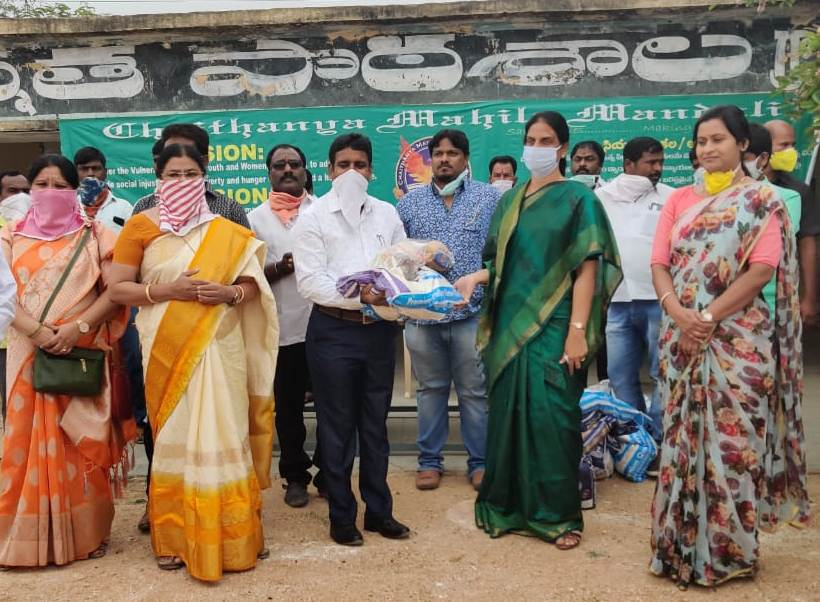 Hon'ble Minister for Education ,Govt.of Telangana Ms.Sabhitha Indhra Reddy Garu , Hon'ble Chairman Zilla Parishad,Ranga Reddy District (Ms. Anitha H.Reddy Garu join with Mr.Jaya Singh.Thomas,G.Secretary-CMM during COVID-19 Crisis Awareness cum Assist.