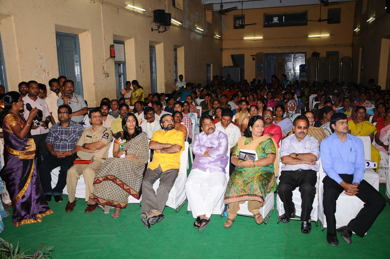 VIPs representing Political Parties, Government Agencies, Non-Government Agencies, Police Department and Community Members listening the PPPs by CMM's president at CMM's XII Anniversary Event held in Hyderabad.