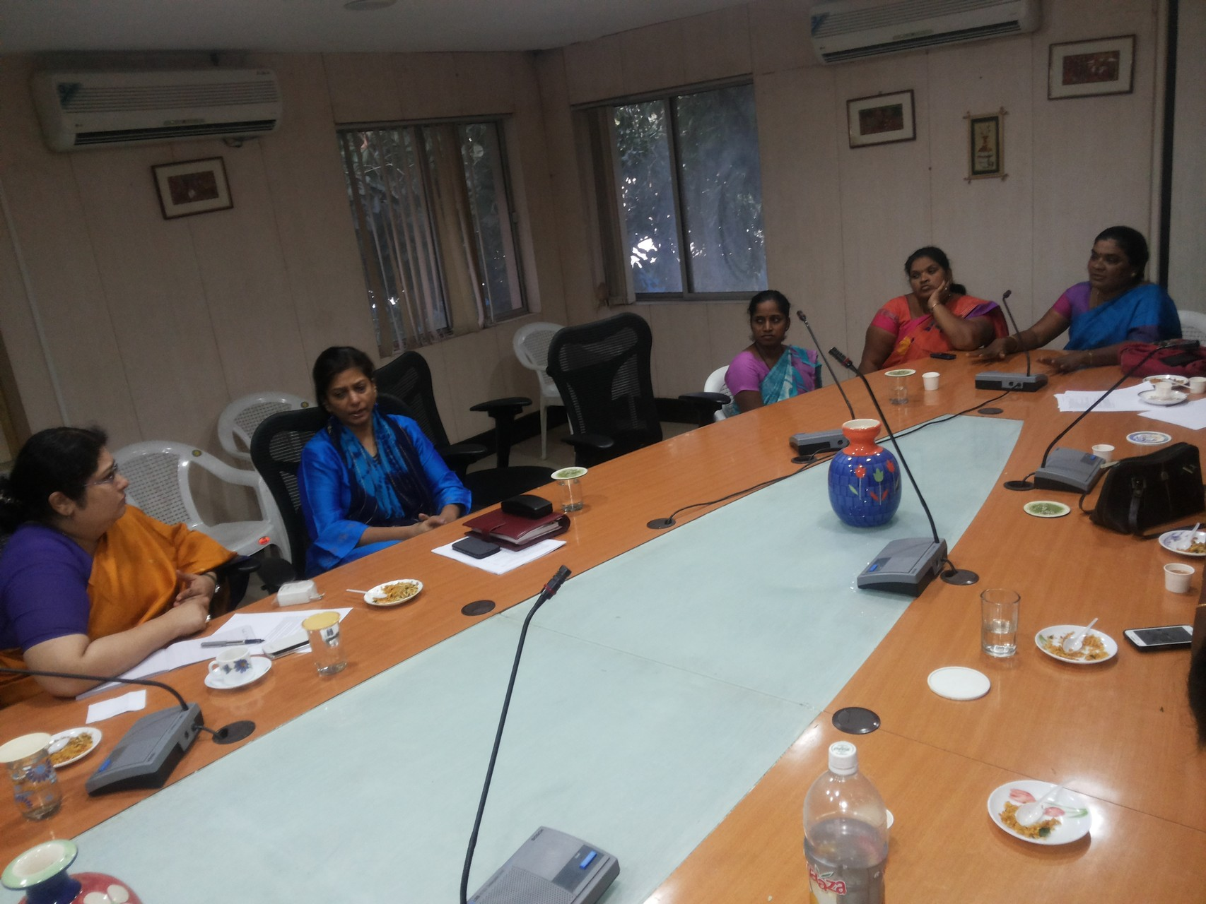 Ms.Jayamma and Team from CMM with Ms.Charu Sinha IPS and Ms.Sylaja Ramaiah,IAS discussing in regards to Mahila Padratha Comitte representation to the Govt,of Telangana.