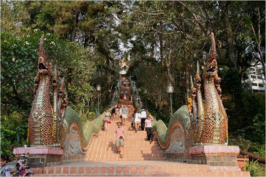 Die Eingangstreppe zum Königlichen Tempel Doi Suthep. Wer nicht gehen mag, es gibt auch eine kleine Zahnradbahn hoch zum Tempel