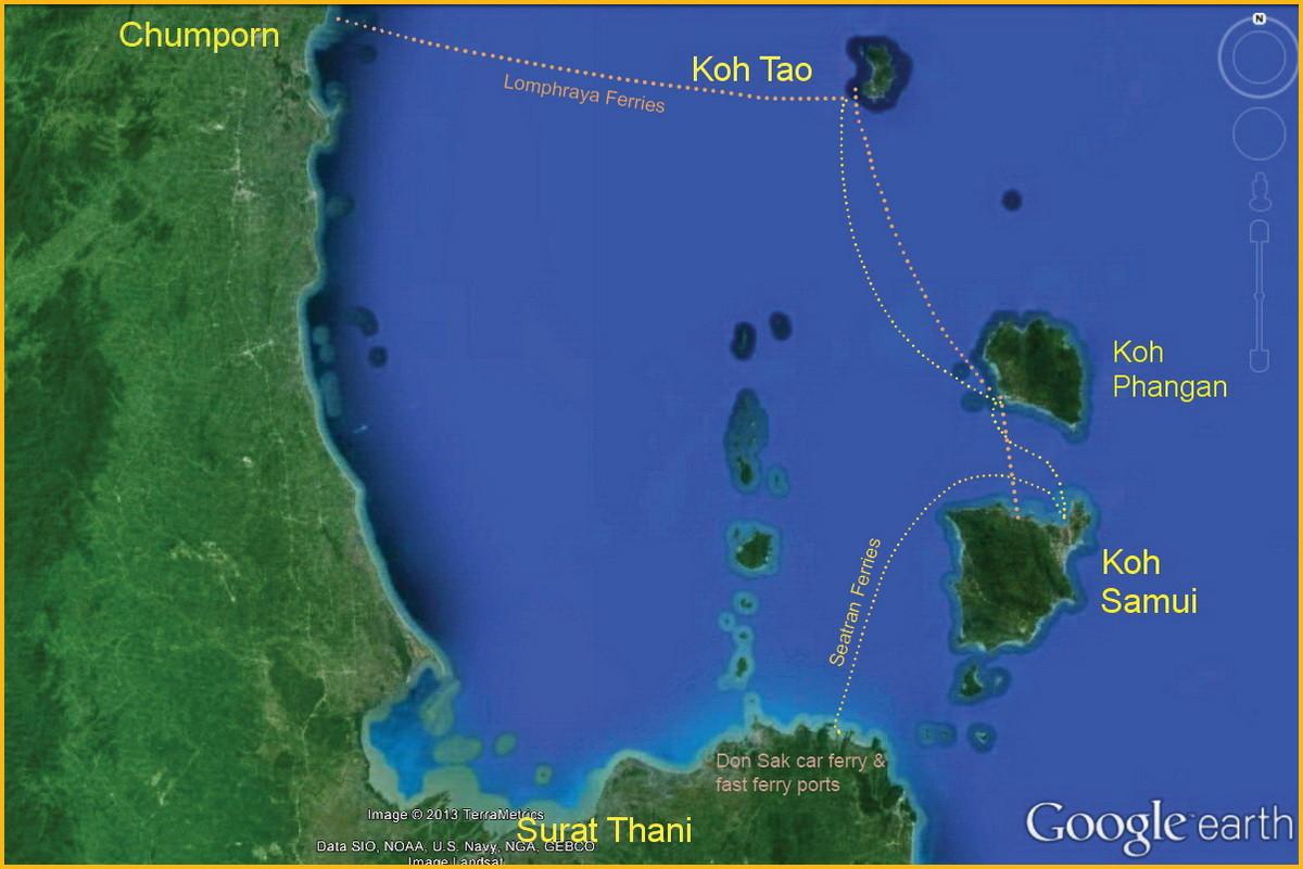 Hier ein Blick auf die umliegenden Inseln Koh Tao und Koh Phangan sowie das Festland