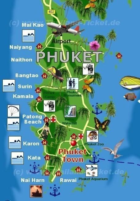 Die Karte von Phuket. Die bekannten Strände liegen alle an der Westküste