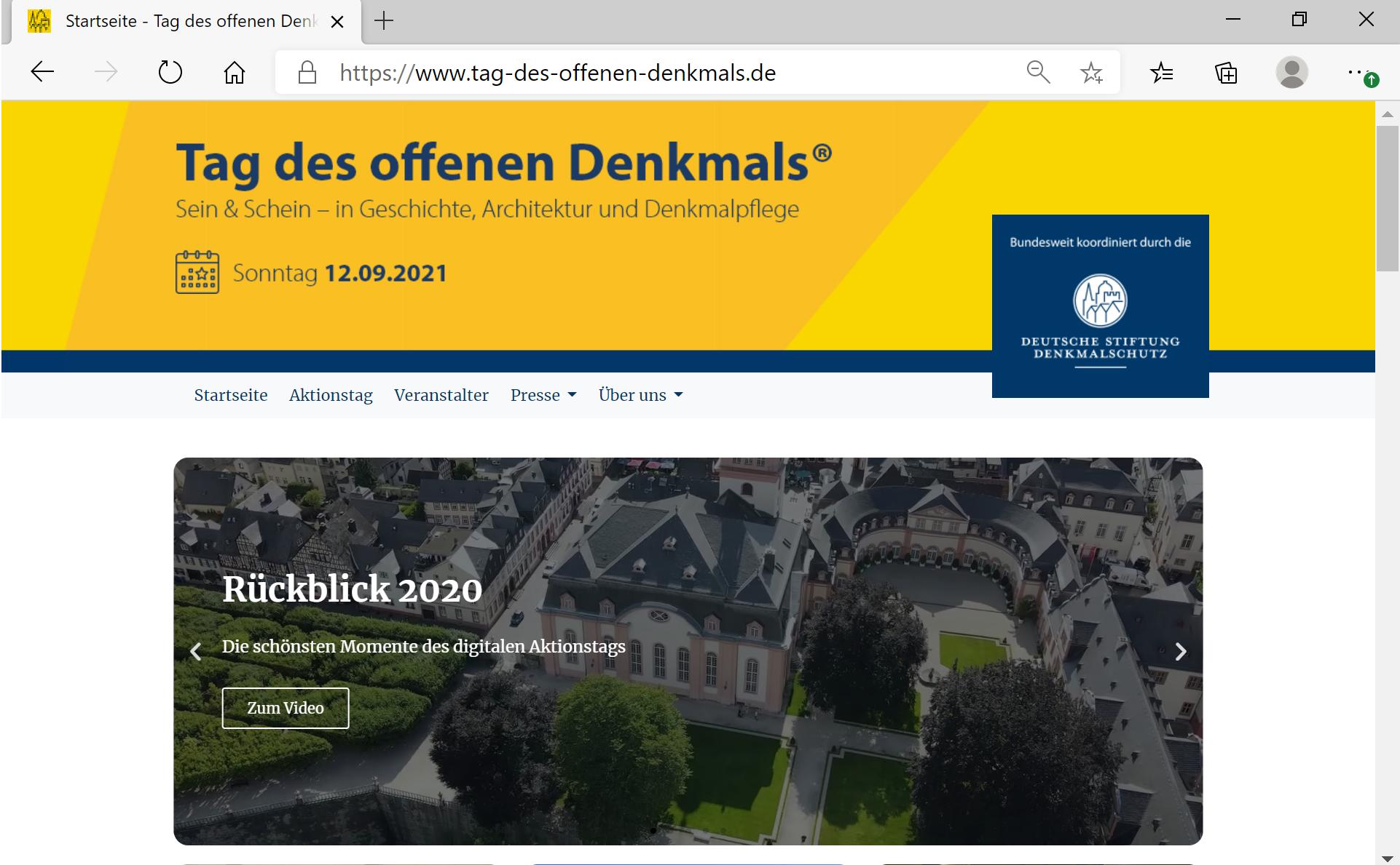 TAG DES OFFENEN DENKMALS 2021: Schlosskirche – Altstadt – Im Bangert