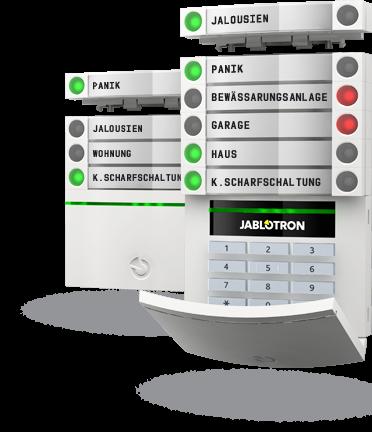 Bedienteile des Jablotron 100-Alarmsystems mit zusätzlichen Bediensegmenten