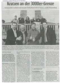 Zeitungsausschnitt der Neuen Westfälischen zur 5. AOK Firmenlauf in Lippe vom 07.02.2014