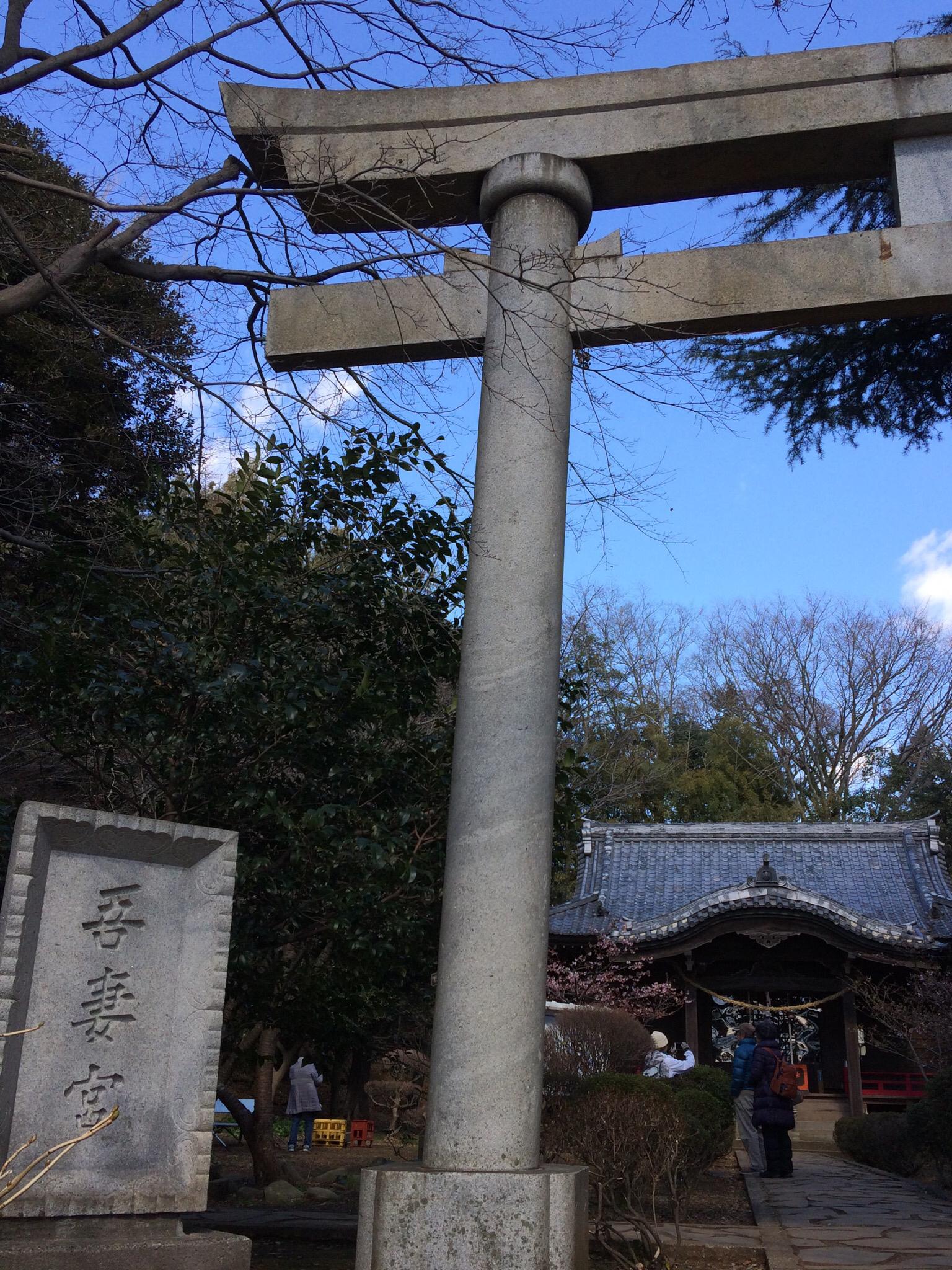吾妻神社に到着!つかの間のひと休み…
