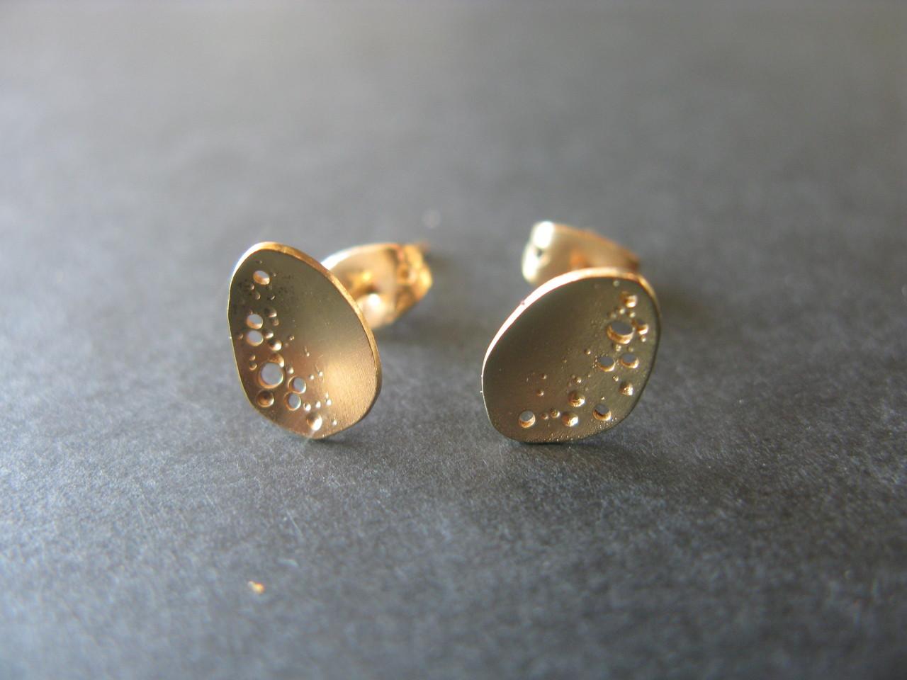 Boucles d'oreilles Goutte PM avec trous - Plaqué or fin