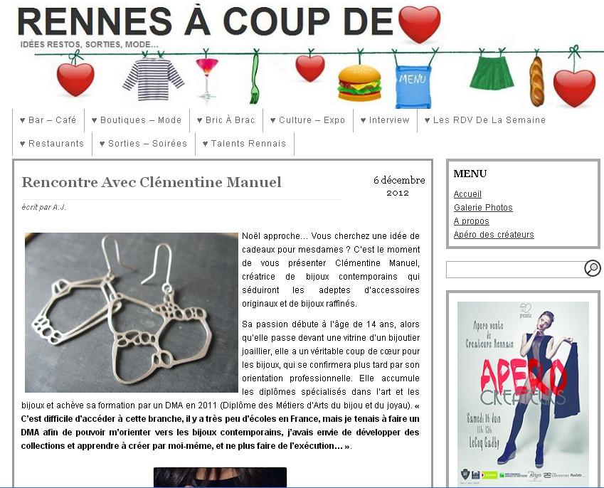 Rennes à coup de coeur/ interview