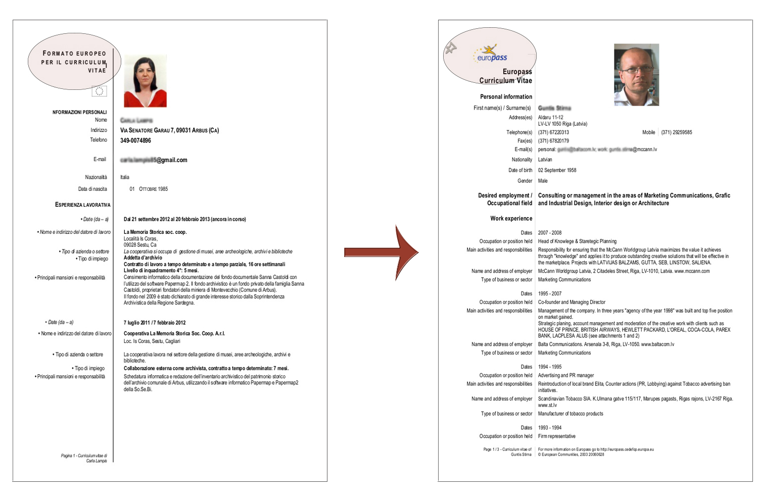 differenze tra curriculum vitae europeo e europass