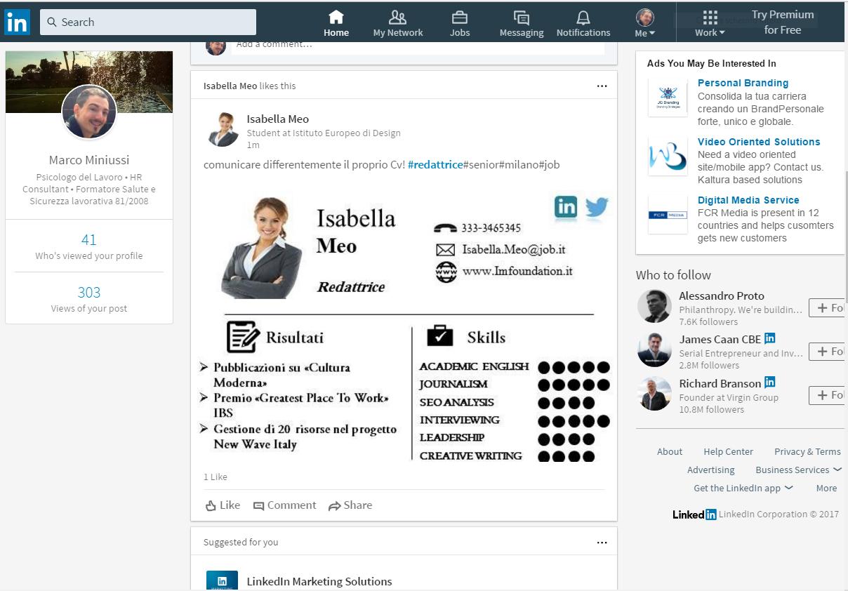 cv su linkedin capitale umano questo è il nuovo formato di cv infografico messo a disposizione per girare sulla bacheca linkedin puoi utilizzare questo strumento in almeno due modi