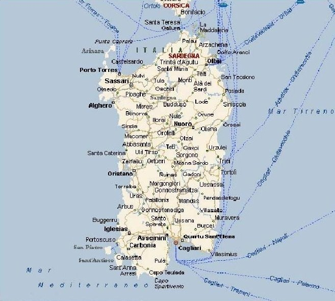 Cartina Sardegna Muta.Sardegna Cartina Utile Mari Strade Citta Pianeta Alghero