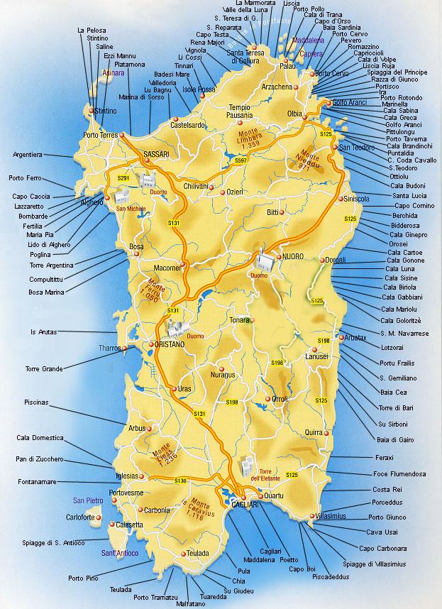 Mappa Spiagge Sardegna, una cartina delle più belle spiagge da visitare della Sardegna.