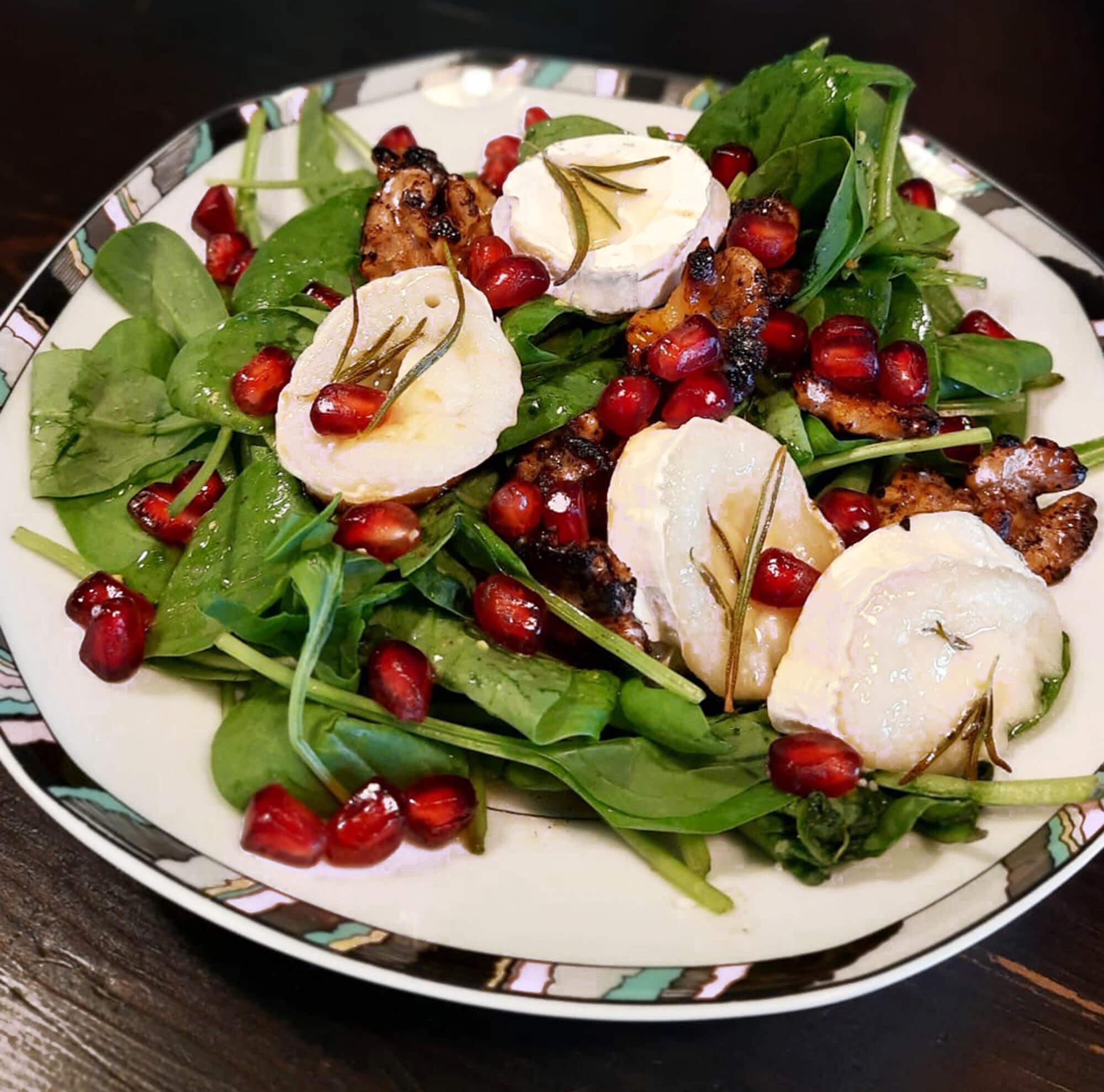 09 Spinat-Granatapfelkerne-Ziegenkäse-Salat (LT) #tagdernachbarn