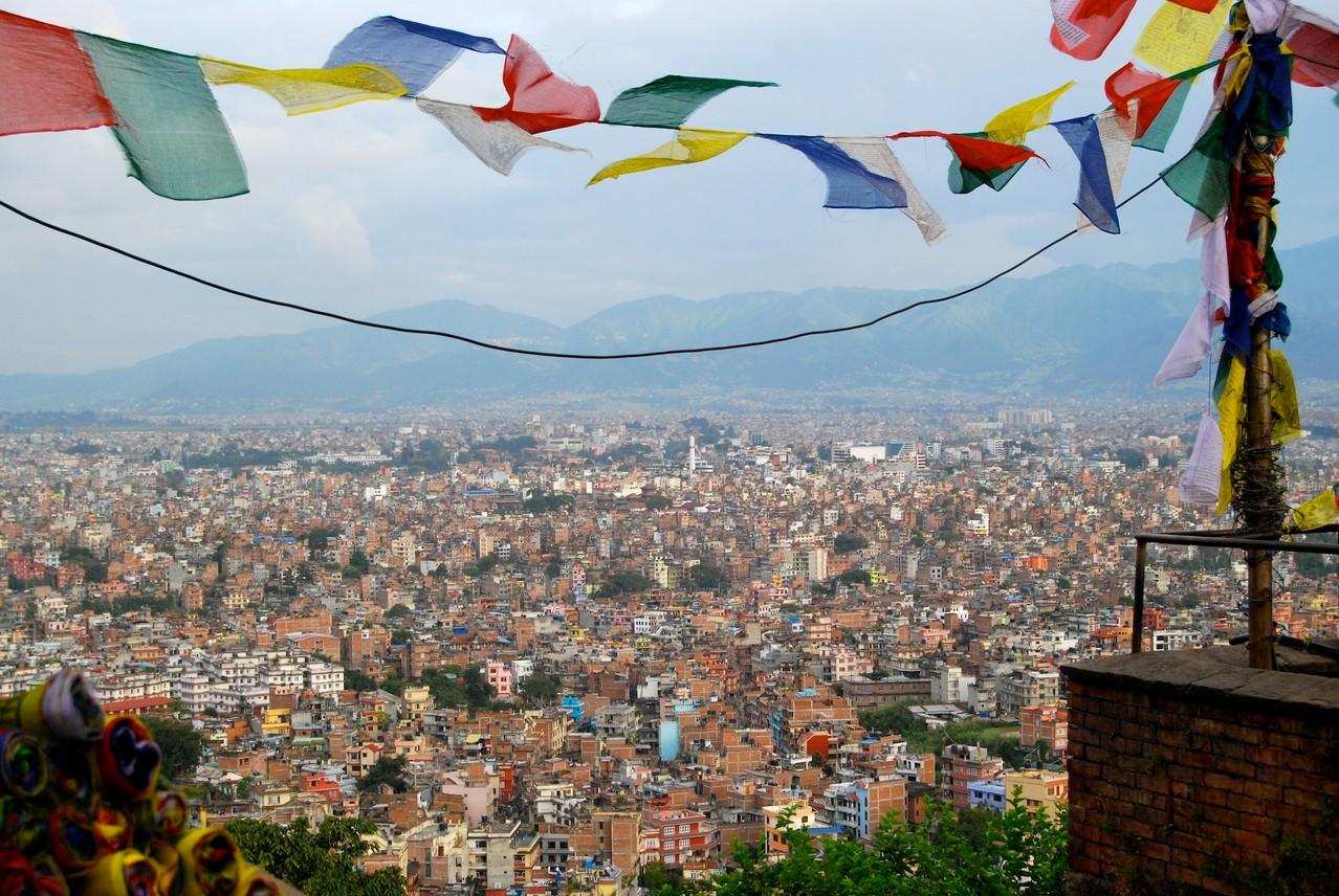 Blick auf Kathmandu vom Swayambunath Tempel