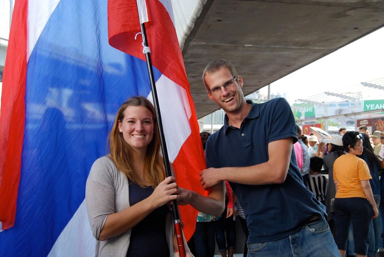 David, die Fahne und ich