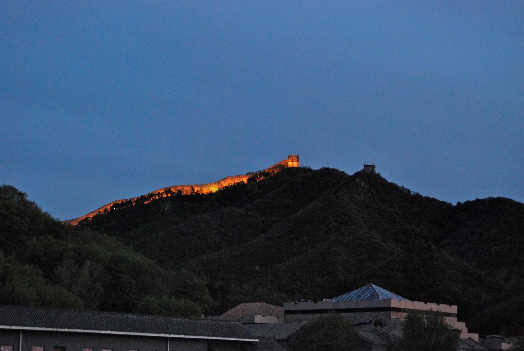 Beleuchtete Mauer bei Badaling
