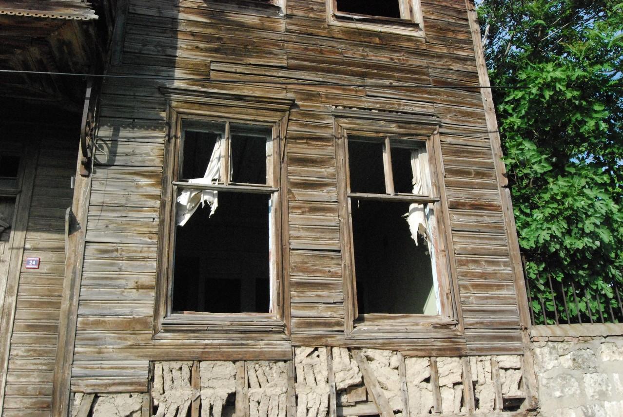 Ein typisches Holz- und Lehmhaus in Edirne