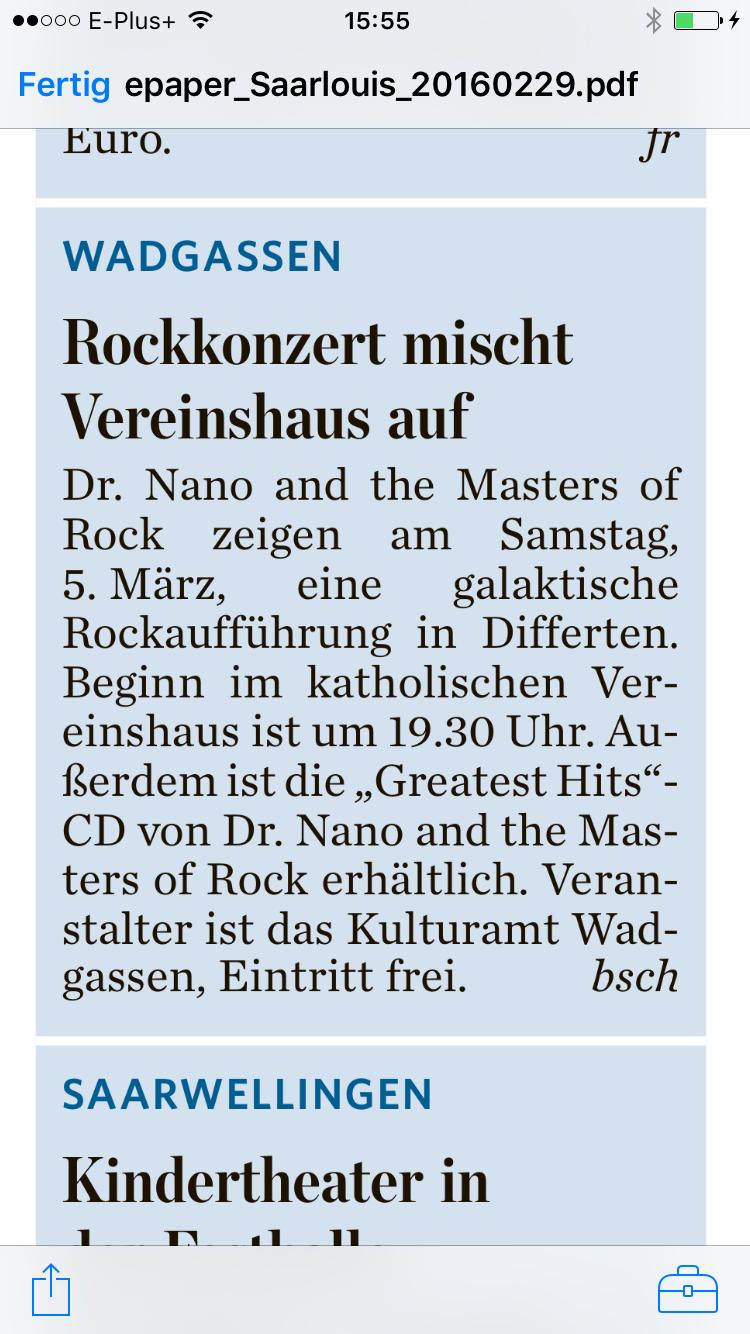 Ankündigung Rockkonzert in Differten in der Saarbrücker Zeitung vom 29.02.2016