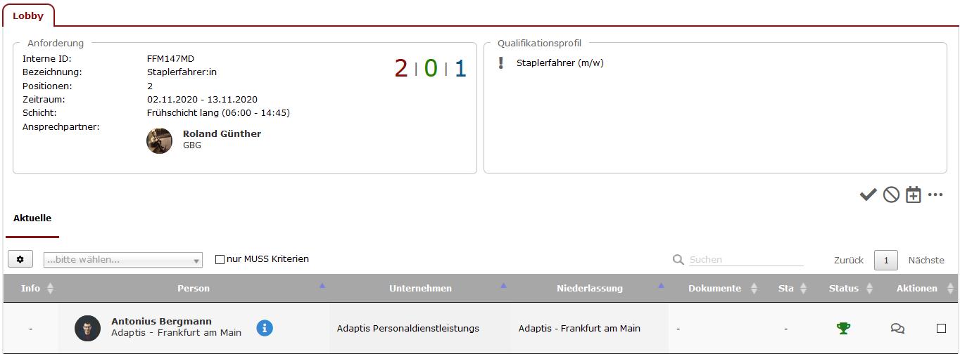 verfügbares Personal recherchieren und Profile vorstellen ...