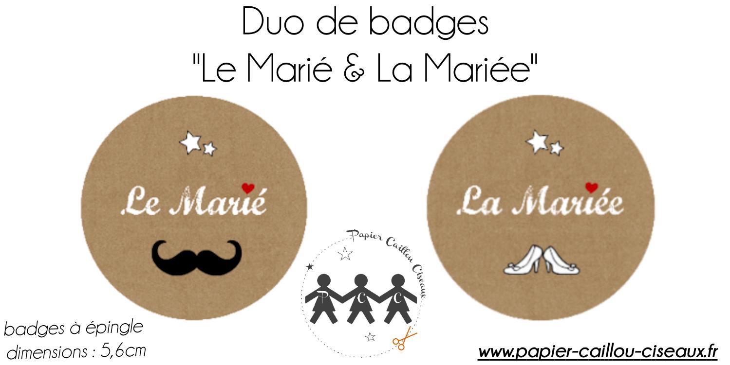 Badges couple les mariés