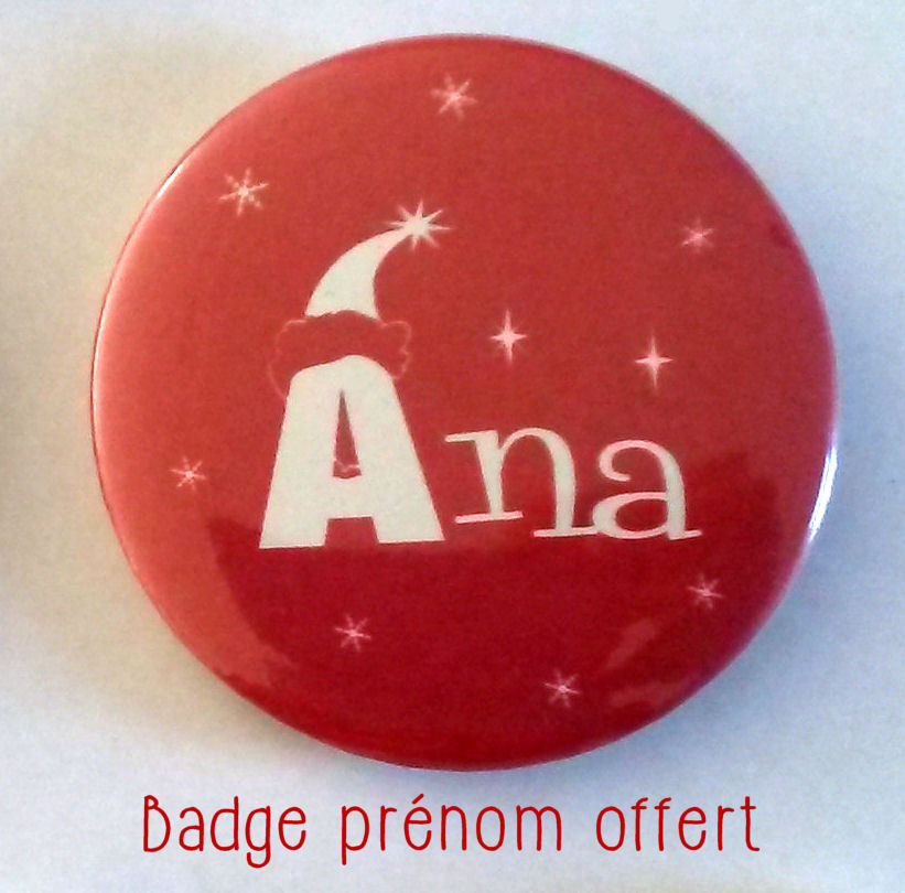 Tote bag de Noël -badge prénom-