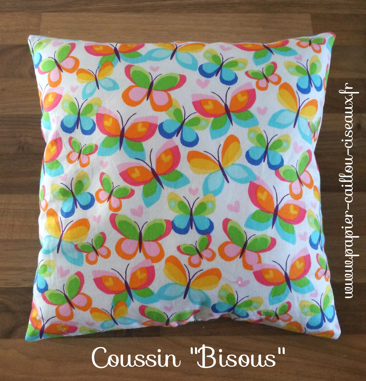 "Coussin ""Bisous"" verso"