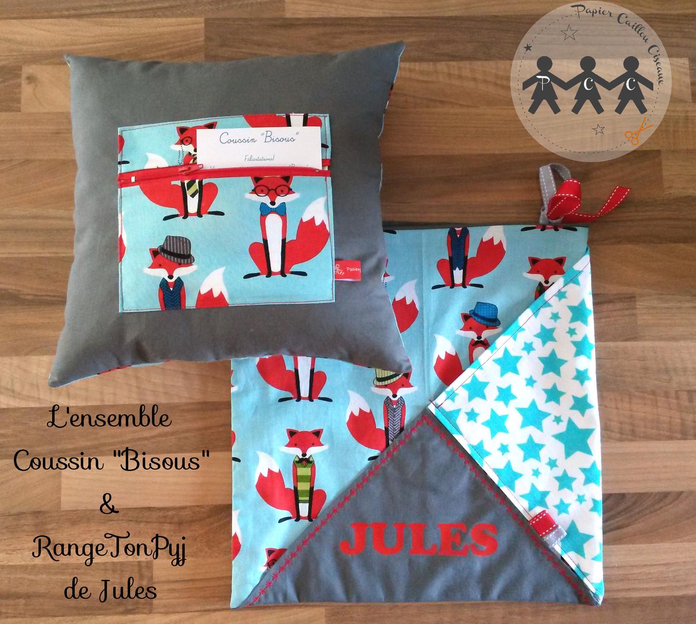 """Ensemble coussin """"Bisous"""" et Range-pyjama"""