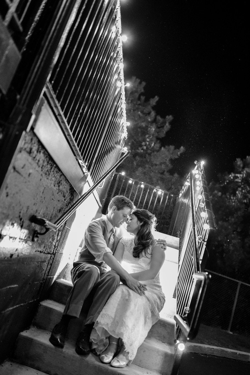Meghan and Josh's wedding portrait. Night lighting. Downtown, Columbus Ohio at Dock580 Wedding Venue